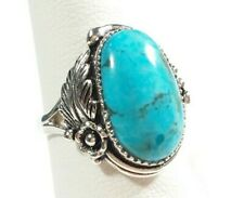 SIGNED AHM 925 STERLING SILVER FEATHER BLOSSOM DESIGN TURQUOISE SIZE 7 RING