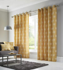 """Ochre Yellow & White Dandelion Flowers 90"""" x 90"""" Lined Eyelet Ring Top Curtains"""
