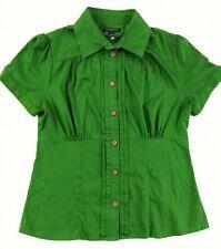 Banana Republic LARGE Green Short Sleeve Blouse Pleated Tailored Empire Waist