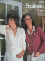 Ladies CARDIGAN set KNITTING PATTERN vintage 32 - 40 inch 4ply Sunbeam 565