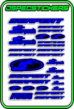 RC STICKERS MODEL CAR SERPENT RACING BRUSHLESS F1 1/10 DRIFT 1/8 BUGGY DRK BLU B