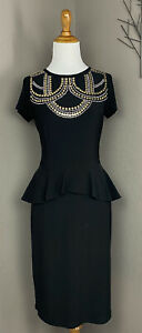 Frank Lyman Black Jersey Peplum Waist Dress Embellished Neckline 6