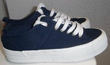 GIRLS M&S CANVAS SHOES SIZE UK 3 EUR 35.5 NAVY BLUE LACE UP TRAINERS THICK SOLES