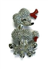 Vintage Silver Tone W/ Red Bow Fancy Poodle Dog Brooch Pin