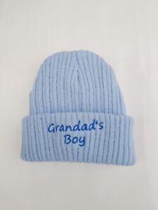 NEWBORN BABY BOY HAT WHITE or  BLUE KNITTED BABIES CAP nb-3mths