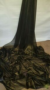 "1M NEW  black  / GOLD SHIMMER  DRESS CHIFFON FABRIC 58"" WIDE"