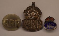 Lovely Solid Silver World War II WW2 x2 ARP Badges & HG Badge/Button RDL6589