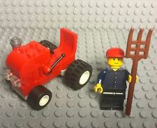 Lego New Mini Farmer Red Tractor,Mini Figure With Red Cap And Pitchfork Utensil