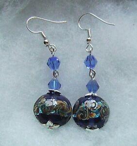 COBALT BLUE SWIRLS LAMPWORK GLASS EARRINGS