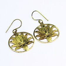 Solid Brass Earrings A004971 c905 Plain Lotus Design Fashion Jewelry