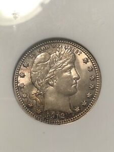 ANACS MS62 1912 BARBER QUARTER ABSOLUTELY BEAUTIFUL