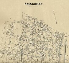 Saugerties Malden Glasco Quarryville, NY 1875 Map with Homeowners Names Shown