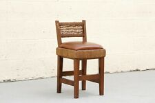 Antique Art and Crafts Movement Childs Chair with Woven Rush and Leather