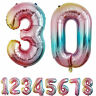 """32"""" Baby Shower Gradient Color Inflatable Toys Helium Number 0-9 Foil Balloon Yc"""