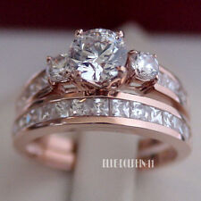 Genuine Solid 9ct Rose Pink Gold Engagement Wedding Rings Set Simulated Diamonds