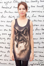 WOLF FOX ANIMAL JACOB Pop Art Indie WOMEN Black T-SHIRT DRESS Tank TOP Size S M