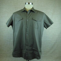 Men's JF J.Ferrar Modern Fit Brown Bowling Camp Size L Casual Shirt