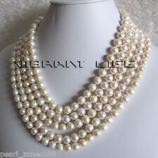 """100"""" 8-10mm White Freshwater Pearl Necklace Natural Color Strand"""