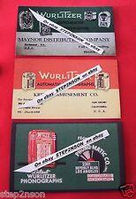 3 Large Early Wurlitzer Jukebox operator Mechanism / Back Door cards 30`s 1940`s