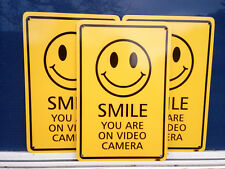 Smile You Are On Video Camera Pack 3 Metal Safety Sign 300 x 225mm Fast Delivery