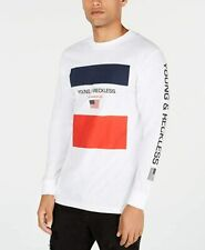 Young & Reckless Men's T-Shirt Large Colorblock Graphic Tee White Large L B06
