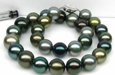 """huge 18""""10-12mm natural south sea genuine black blue gray round pearl necklace"""