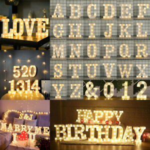 LED Light Up Alphabet Letter Number Lights Standing Hanging Wedding Party Light
