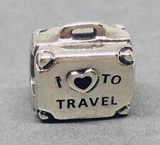 Rare Genuine Pandora Silver I Love To Travel Suitcase Charm 797997ENMX