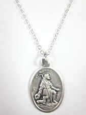 """St Rocco ( Rock Roch ) Medal Pendant Necklace 20"""" Chain Gift Box & Prayer Card"""