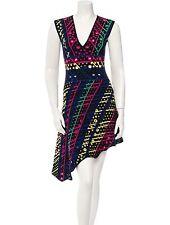 New $2,800 PETER PILOTTO Knit Asymmetrical Intarsia V Neck Dress M