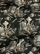 Black Skulls Skeleton Graveyard Halloween Printed 100% Cotton Poplin Fabric