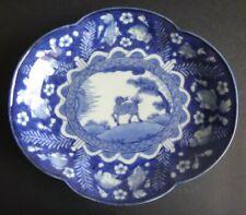 Ancienne coupe porcelaine japon Old japanese plate porcelain blue fish imari XIX