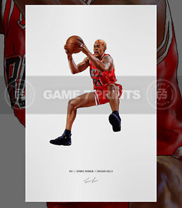 Dennis Rodman Chicago Bulls Basketball Illustrated Print Poster Art