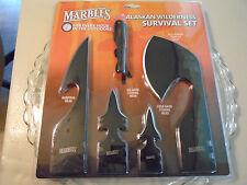 Marbles Alaskan Survival Spear Head Ulu Harpoon Knife 4 Pc Combo Set MR381 New