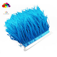 Good 1/5/10 meter blue Ostrich Feathers 8-15cm/3-6 inch Fringe Ribbon Trim craft
