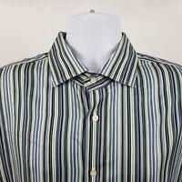 TD Thomas Dean Blue Green Striped Mens L/S Dress Button Shirt Sz XL