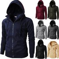 Men's Fleece Lined Hooded Coat Plain Hoodie Jacket Zip Up Overcoat Sweatshirt US