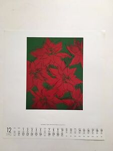 ANDY WARHOL,'POINSETTIA FLOWER,1982,AUTHENTIC PRINT FROM 1992 TE NEUES CALENDAR