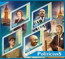 Stamps Politicians Thatcher, Gandhi, Charles de Gaulle,  Martin Luther King