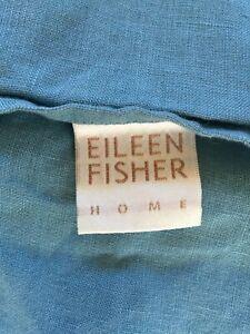 Eileen Fisher Home Garnet Hill set of 2 blue linen pillowcases shams lumbar NEW