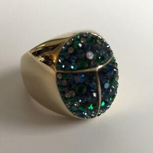 Swarovski $100 Gold Chunky Beetle Ladybug Green Crystals Ring