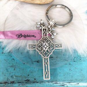 BRIGHTON Bella Roma Crystal Cross Silver Key Chain Fob Pendant Religious Gift