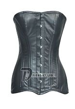 Heavy Duty Double Steel Boned Lace up Genuine Leather Long Torso Overbust Corset
