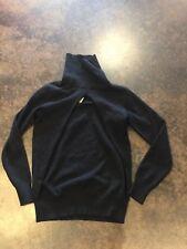 Cruciani black 3 ply cashmere mock twinset turtleneck 42 4-8
