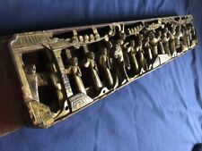 """Antique Chinese temple wood carving panel w orig. gold gilt, 22 3/4"""" x 4 1/8"""""""