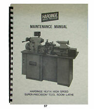Hardinge Model HLV-H Tool Room Lathe Maintenance Manual *57