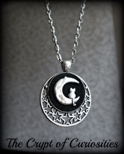 Crypt of Curiosities Cat on Moon necklace