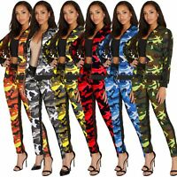 Women Long Sleeves Camouflage Print Zipper Casual Sport Tracksuit Jumpsuit 2pc