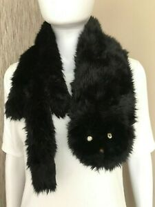 MARC BY MARC JACOBS BLACK FAUX FUR RUE THE CAT SCARF RETAIL £185 BNWT....RARE!!!