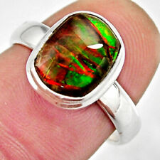 4.06cts Natural Multi Color Ammolite 925 Silver Solitaire Ring Size 7 R12685